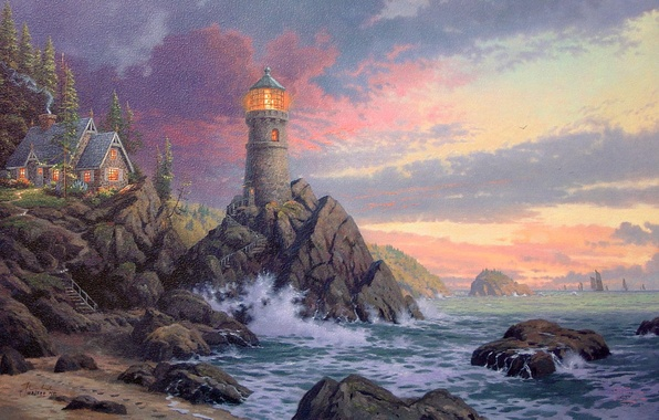 Картинка волны, скала, дом, океан, маяк, вечер, waves, rock, house, живопись, ocean, sunset, art, evening, Томас …