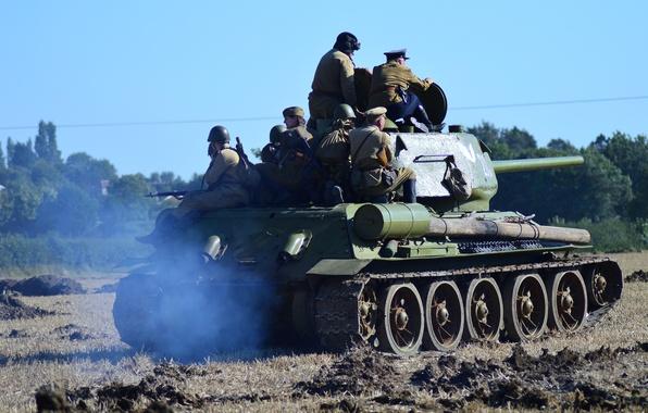 Картинка танк, советский, средний, Т-34-85, военная реконструкция