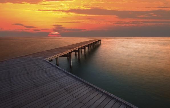 Картинка море, небо, вода, солнце, облака, пейзаж, закат, река, фон, океан, пристань, пирс, широкоформатные, полноэкранные, HD …