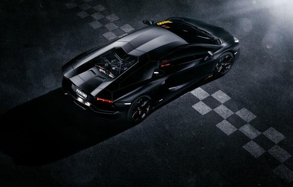 Картинка Lamborghini, Black, Line, LP700-4, Aventador, View, Supercar, Rear, Top, Ligth, Finisg