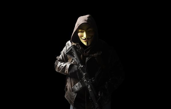 Картинка оружие, маска, капюшон, мужчина, штурмовая винтовка