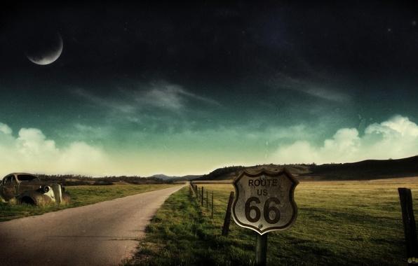 Пейзаж дорога машина ночь небо обои
