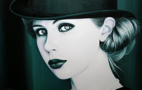 Картинка девушка, ретро, шляпа, макияж, арт, Christiane Vleugels