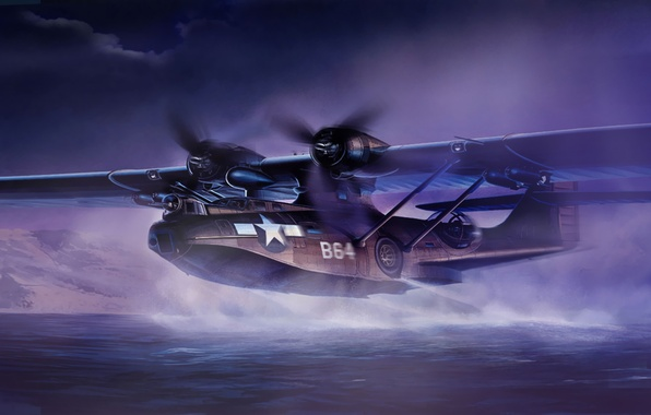 Картинка war, art, painting, aviation, ww2, Consolidated PBY Catalina