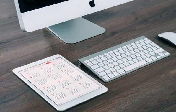 Картинка apple, mac, клавиатура, монитор, планшет, календарь, гаджеты, 2015, calendar
