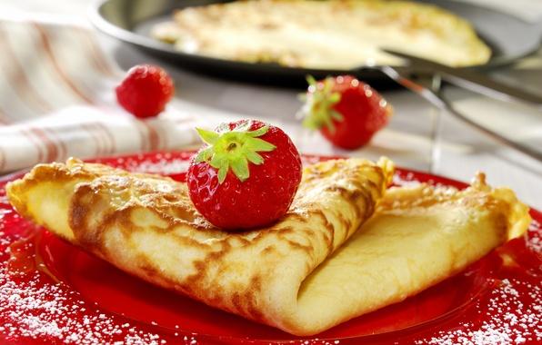 Картинка макро, еда, клубника, ягода, блины, десерт, ням-ням, джем, вкусняшка, вкусно, варьенье