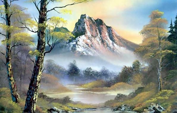Картинка лес, небо, вода, облака, деревья, пейзаж, горы, природа, река, картина, живопись, берёза, Bob Ross, Боб …