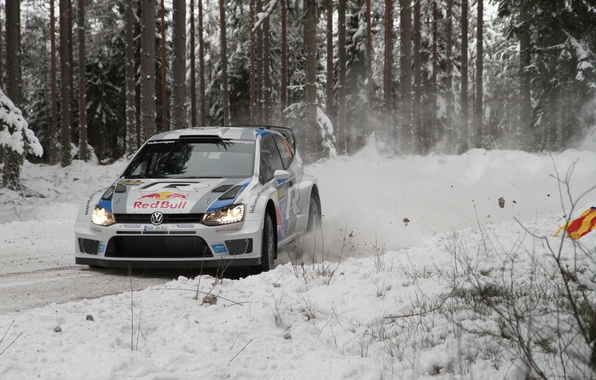Картинка Снег, Лес, Volkswagen, Поворот, Занос, WRC, Rally, Polo, S. Ogier, J. Ingrassia