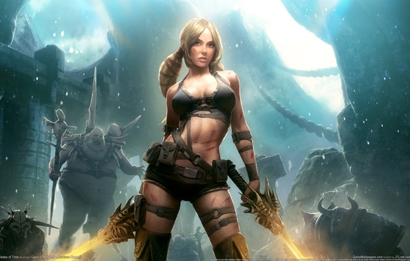 Картинка девушка, ночь, замок, луна, монстры, girl, Moon, мечи, night, monsters, castle, game wallpapers, swords, Blades …