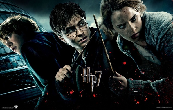 Картинка Гарри Поттер, Эмма Уотсон, Harry Potter, Гарри Поттер и Дары Смерти, Рон Уизли, Гермиона Грейнджер, …