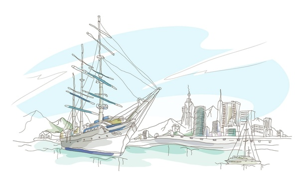 Картинка море, небо, горы, город, рисунок, корабль, дома, вектор, яхта, набережная