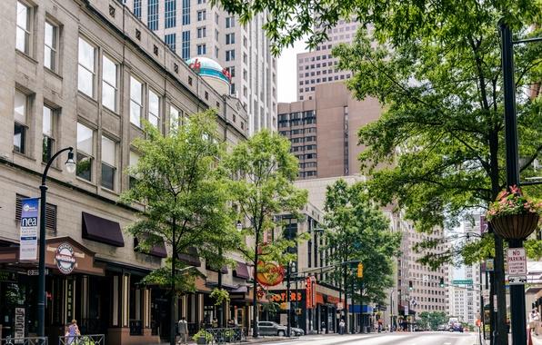Картинка дом, улица, здание, небоскреб, кафе, USA, США, house, skyscraper, street, Georgia, cafe, building, Атланта, Atlanta, …
