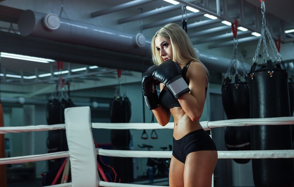 Фото обои training, female, boxing