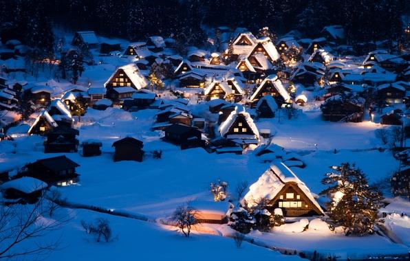 Картинка зима, снег, пейзаж, ночь, природа, дома