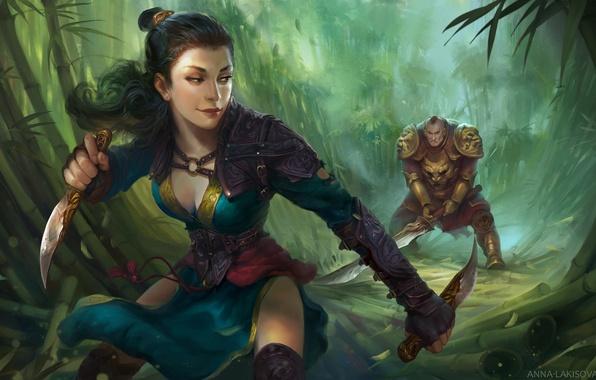 Картинка взгляд, девушка, поза, оружие, бамбук, арт, мужчина, броня