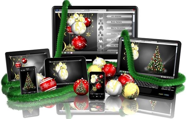 Картинка отражение, праздник, шары, новый год, белый фон, ноутбук, монитор, мишура, планшет, экран, смартфон, новогодние