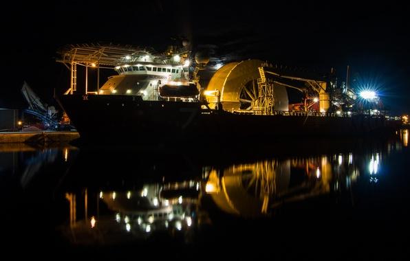 Картинка ночь, корабль, пристань, subsea 7