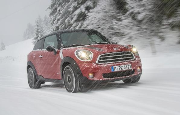 Картинка Красный, Зима, Снег, Mini Cooper, MINI, Передок, Мини Купер, Paceman, Снегопад