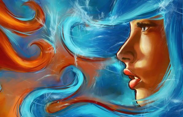 Картинка взгляд, вода, девушка, лицо, огонь, стихии, арт, губы, профиль, живопись
