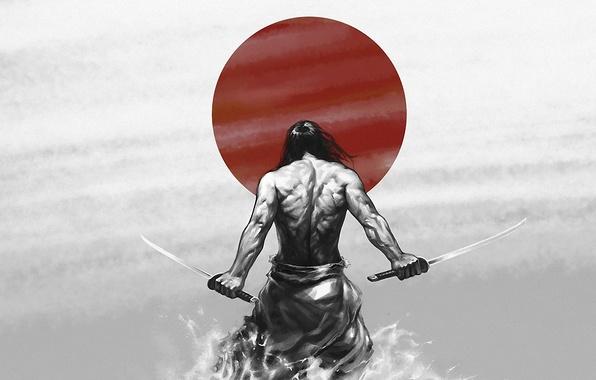 Картинка солнце, сила, обои, рисунок, катана, Япония, воин, Самурай, japan, мышцы, katana, sun, катаны, samurai, мужество, …