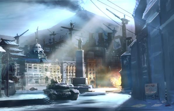 Картинка зима, снег, город, дым, гора, вулкан, танк, Devil's Third