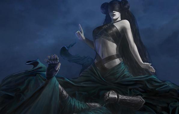 Картинка девушка, смерть, руки, арт, ткань, повязка, Night sister