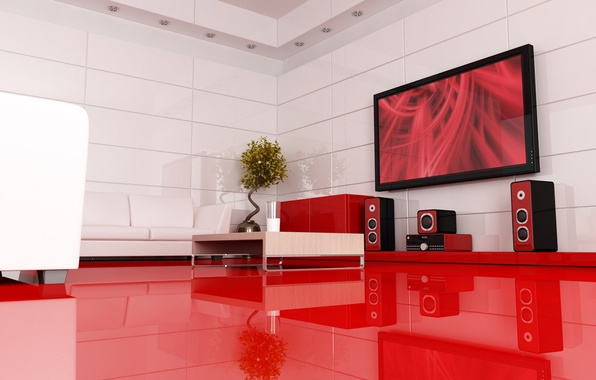 Картинка куст, телевизор, акустика, Интерьер, комната отдыха