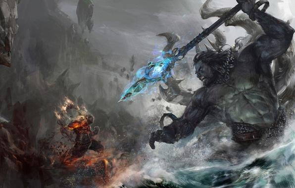 Картинка вода, огонь, арт, гигант, копье, битва