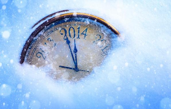 Картинка снег, праздник, стрелки, часы, Новый Год, цифры, циферблат, год, New Year, 2014