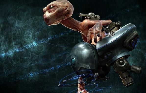 Картинка фантастика, монстр, кресло, голова, инопланетянин, полёт