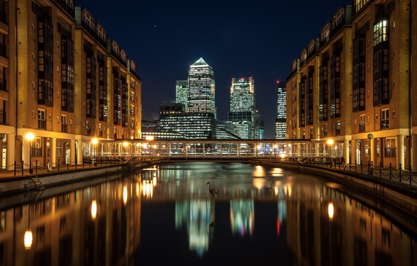 Картинка ночь, мост, город, река, Англия, Лондон, дома, небоскребы, London, England, Docklands