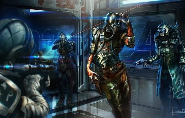 Картинка оружие, фантастика, корабль, скафандр, арт, костюм, солдаты, шлем, прицел