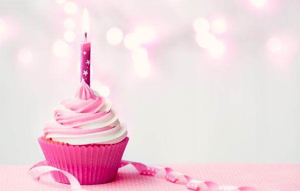 Картинка день рождения, свеча, крем, Happy Birthday, pink, cupcake, кекс, candle