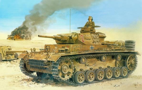 Картинка обломки, пустыня, Рисунок, танк, пушка, немцы, Вермахт, Panzerkampfwagen III, Pz Kpfw III