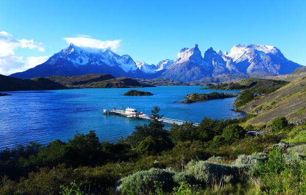 Картинка небо, горы, озеро, причал, пирс, Чили, Chile, Patagonia, Патагония, Torres del Paine, Lake Pehoe