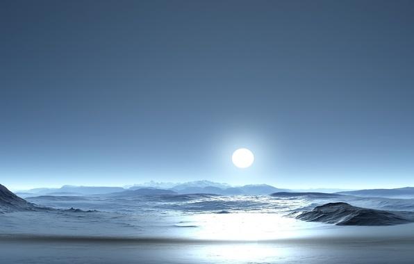 Картинка Солнце, Горы, Снег