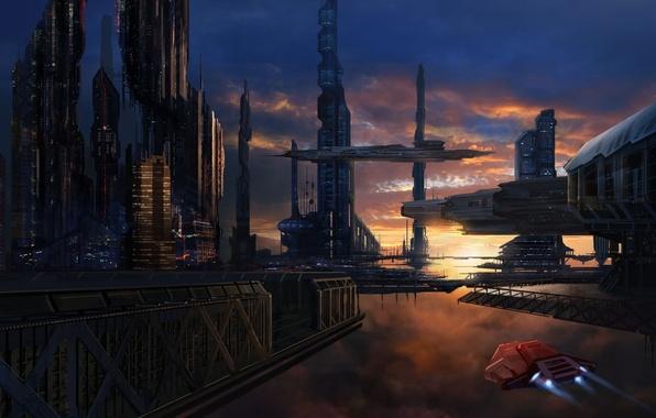 Картинка закат, город, будущее, корабли, арт, в небе, David Lee
