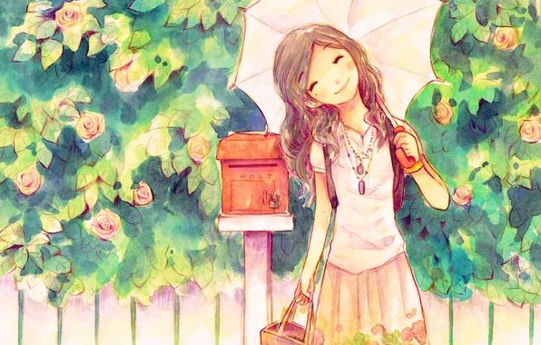 Картинка улыбка, зонт, девочка, хорошее настроение, почтовый ящик