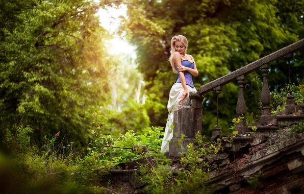 Картинка зелень, лес, девушка, деревья, сказка, платье, лестница, корсет, руины, photographer, старая, Cinderella, Anton Komar