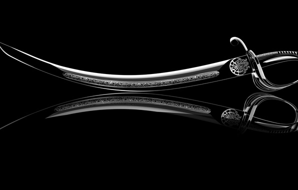 Картинка отражение, рендеринг, фон, widescreen, обои, меч, wallpaper, sword, черный фон, широкоформатные, background, reflection, полноэкранные, rendering, …
