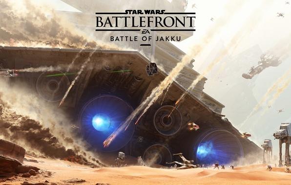 Картинка Небо, Дым, Пустыня, Взрыв, Корабль, Бой, Лучи, Electronic Arts, DLC, Star Wars: Battlefront, EA DICE, ...