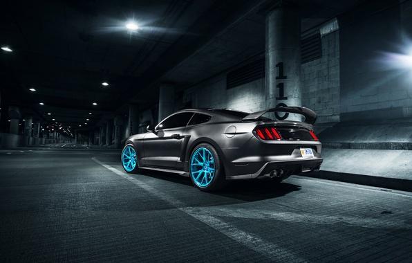 Картинка Mustang, Ford, Blue, Vossen, Wheels, Rear, Roush X