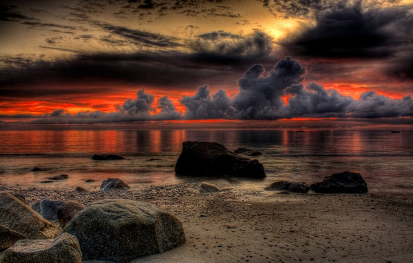 Картинка песок, море, пляж, небо, пейзаж, закат, природа, океан, скалы, colors, beach, sky, sea, ocean, landscape, …