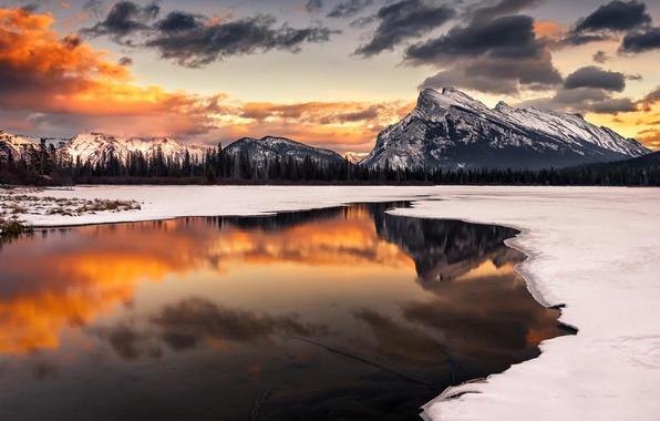 Картинка зима, снег, пейзаж, закат, горы, природа, озеро, отражение