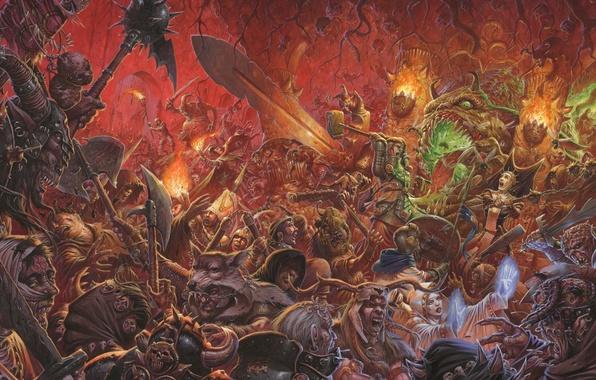 Картинка огонь, монстры, Битва, нежить, войско