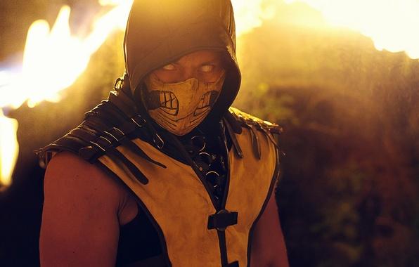 Фото обои Mask, Scorpion, Yellow, MKX, Cosplay, Kombat, Mortal