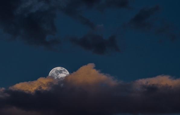 Картинка луна, Небо, облако