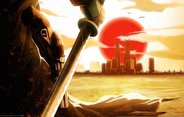 Картинка закат, город, катана, Red Steel 2, револьвер