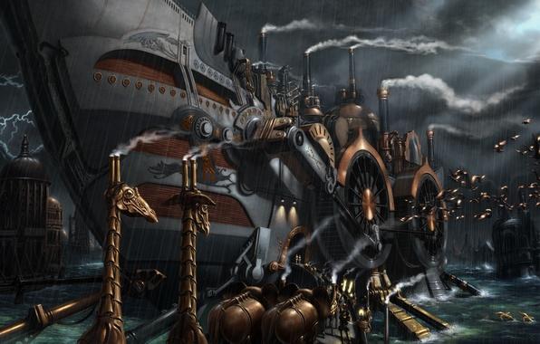 Картинка животные, корабль, пароход, стимпанк, Bernard Bittler, ноев ковчег