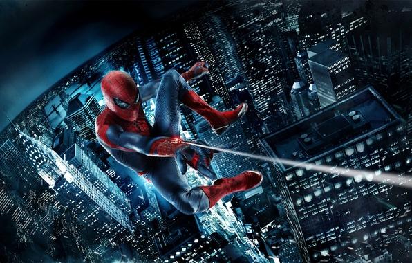 Картинка ночь, небоскребы, летит, Человек-паук, Spider-Man, Amazing spider-man, пвутина